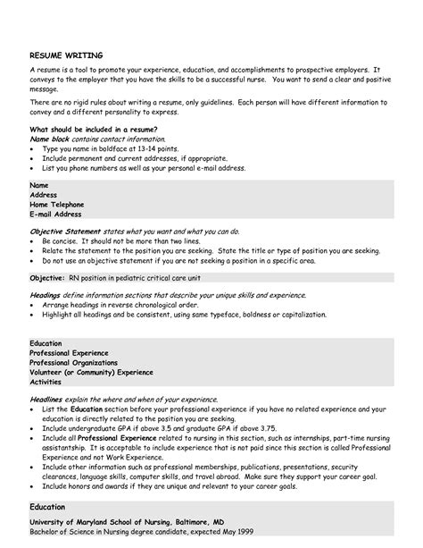 college resume objective statement exle resume november 2015