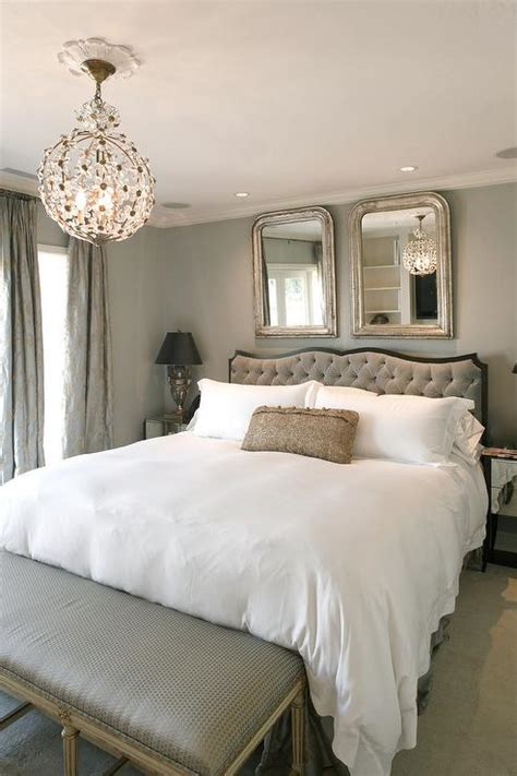 Staggered Mirrors Over Headboard Design Ideas