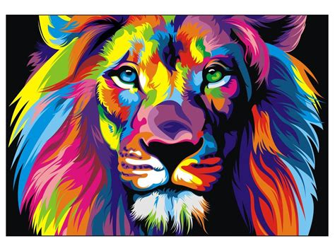 lion print canvas banksy street art print rainbow lion painting 70cm