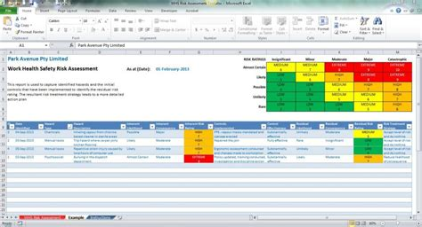 Excel Template Calendar Template Excel Audit Risk Assessment Template Excel