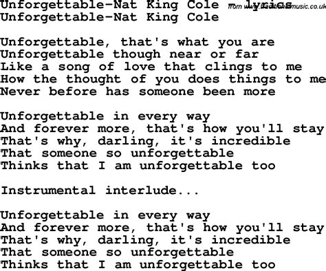 theme song unforgettable love love song lyrics for unforgettable nat king cole