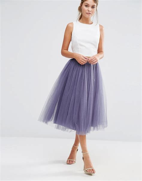 tulle midi skirt at asos