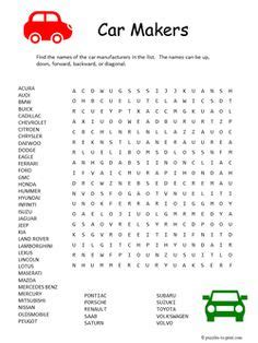 Car Types Word Search by Puzzles On Word Search Puzzles And Worksheets