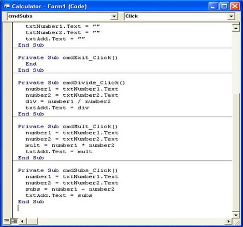 Calculator Visual Basic | visual basic 6 0 tutorials code project for beginners
