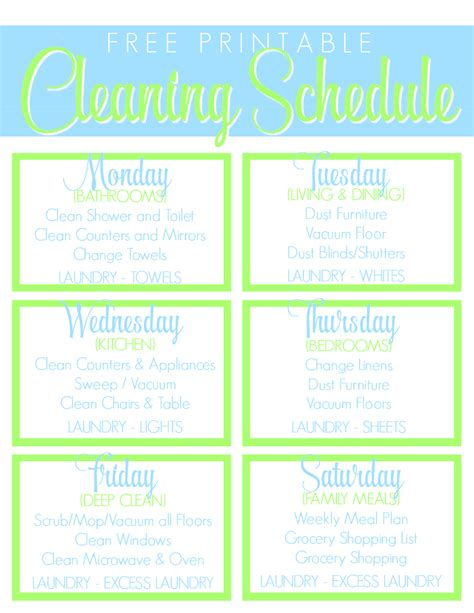 printable housekeeping schedule search results for printable house cleaning checklist