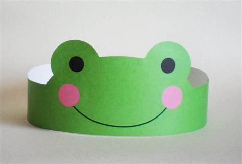 Paper Frog Craft - frog paper crown printable