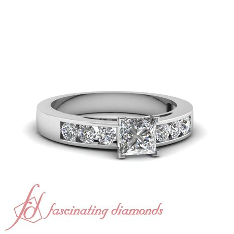 3 4 ct princess cut channel set engagement ring with