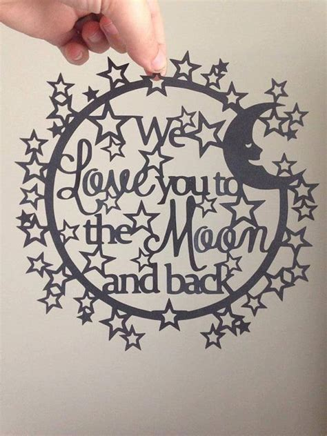 paper cutting template we love you to the moon by