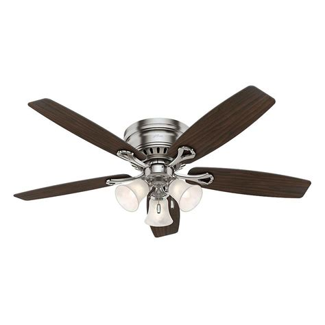 Home Depot Ceiling Fans With Light by Oakhurst 52 In Indoor Low Profile Brushed Nickel Ceiling Fan With Light 52124 The Home