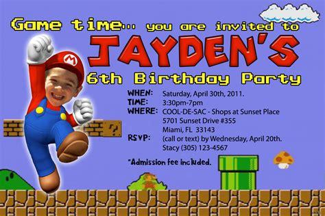 super mario brothers birthday invitations dolanpedia