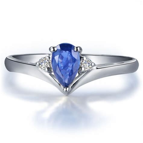 sapphire and engagement ring on 10k white