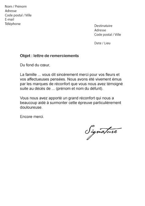 Modeles De Lettre Pour Un Deces lettre de remerciement suite 224 un d 233 c 232 s mod 232 le de lettre