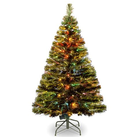 fibre optic xmas trees kmart national tree co 48 quot fiber optic quot radiance quot fireworks tree and led folding stand led technology