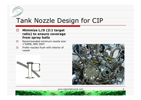 nozzle design criteria incorporating the asme bpe guidelines for cip for