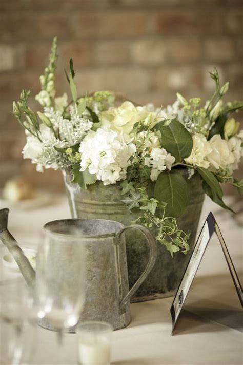 Metal Buckets Rose Centerpieces And White Hydrangeas On Tin Buckets For Centerpieces