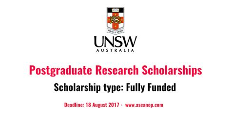 Fully Funded Mba Scholarships In Australia by Fully Funded Postgraduate Research Scholarships At Unsw