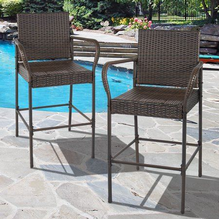 Outdoor Bar Stools Patio Furniture by Best Choice Products Set Of 2 Outdoor Brown Wicker