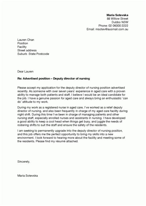 cover letter exle for nursing application sle application letter employment application