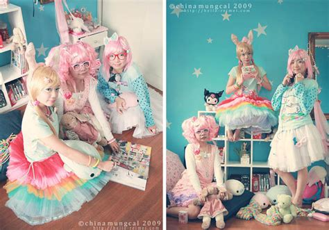 Confetti Omedetto sweet kei candyland photoshoot pink haired models decora hair rainbow skirt