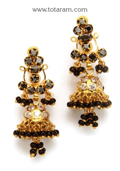 black bead earrings gold 22k gold jhumkas gold dangle earrings with cz black