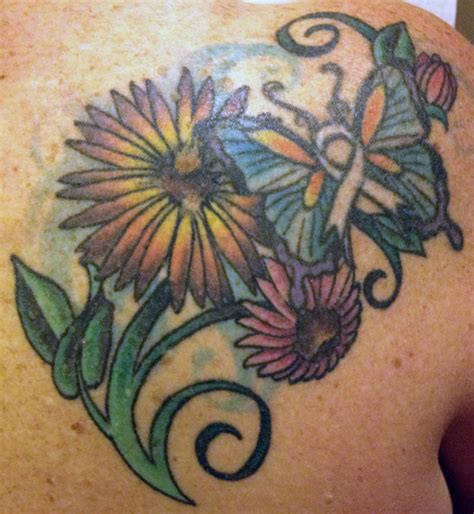Ballards Designs pink ink flower amp butterfly tattoo with a pink ribbon