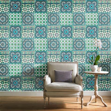 tapete marokkanisch grandeco botanical moroccan tile pattern wallpaper retro