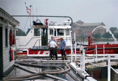 fireboat john glenn hoses are connected to the fireboat ss john h glenn jr