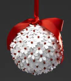 White christmas ball red ribbon white and red flowers tree ornament