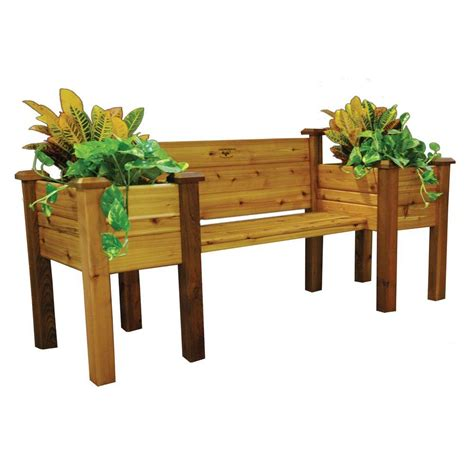 gronomics 82 in w x 24 in h safe cedar bench planter epb