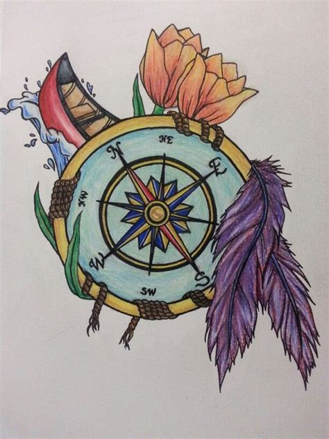 compass tattoo for an outdoorsy with tulips flowers