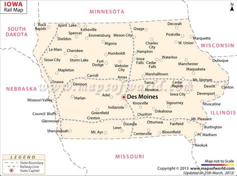 iowa state in usa map iowa rail map route