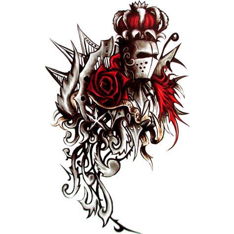 tribal tattoo knight rose knight temporary tattoo body art flash tattoo