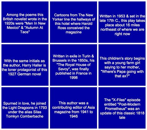 quiz questions by category can you answer these literary questions from jeopardy