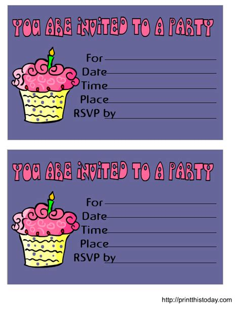 printable birthday invitation cards with photo free printable birthday invitation