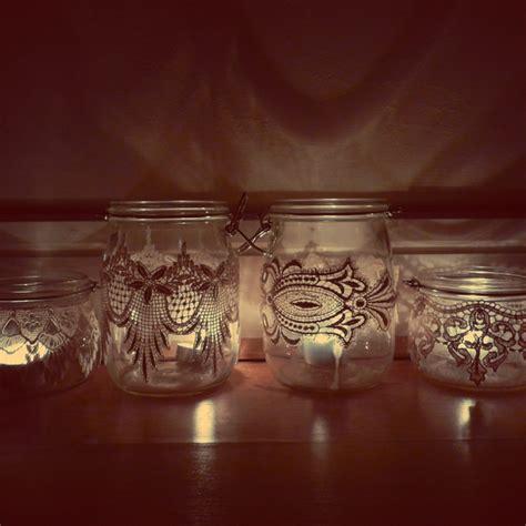 Decoupage Candle Jars - decoupage lace onto jars