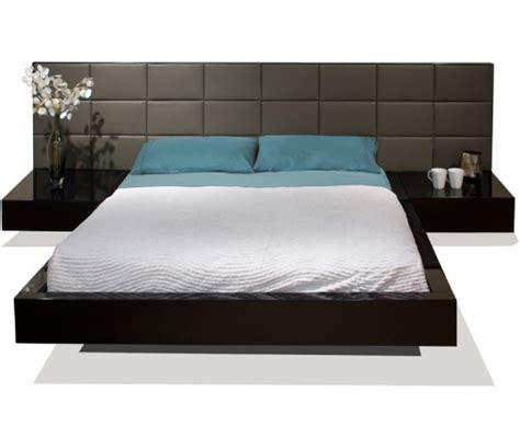 Black Leather Platform Bed Queen - sharon lacqured bed atmosphere interiors modern furniture los angeles