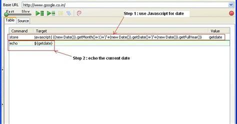 java date format javascript selenium ide get current system date using java script in