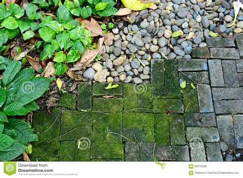 Garten Sache garten mit mos felsen und viel sache stockfoto bild