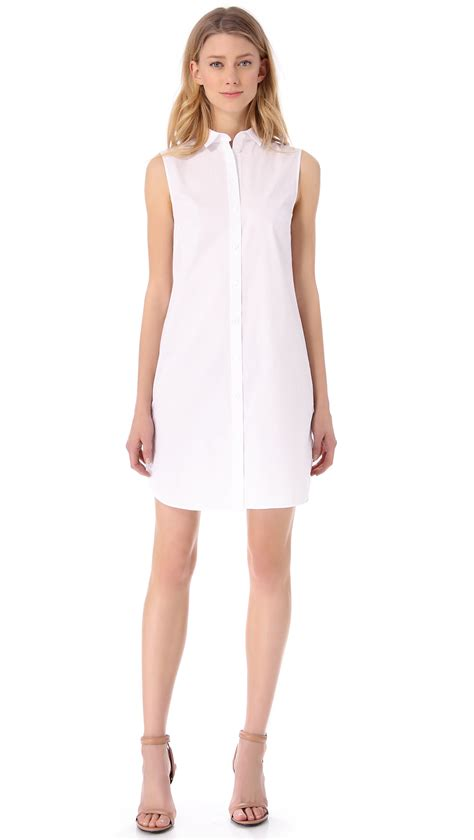Sleeveless Shirtdress lyst t by wang sleeveless shirt dress in white