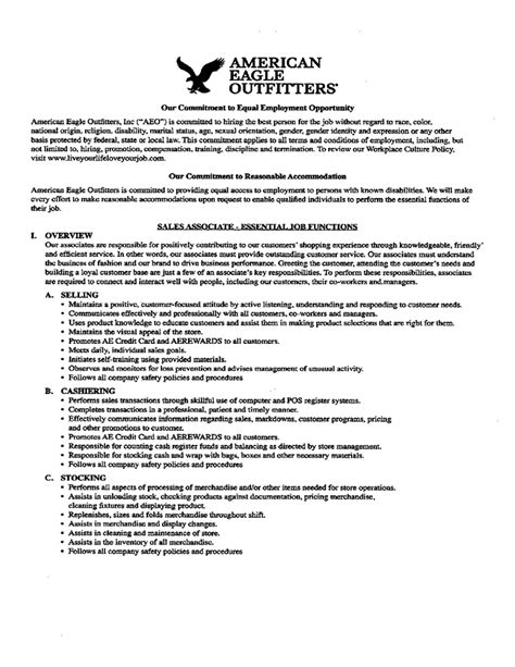 american eagle sales associate application form free