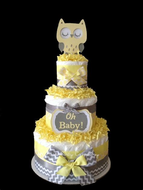 Yellow And Grey Owl Baby Shower by Neutral Chevron Yellow And Gray Owl Cake Baby