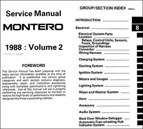 how to download repair manuals 1988 mitsubishi truck electronic valve timing 1988 mitsubishi montero repair shop manual set original