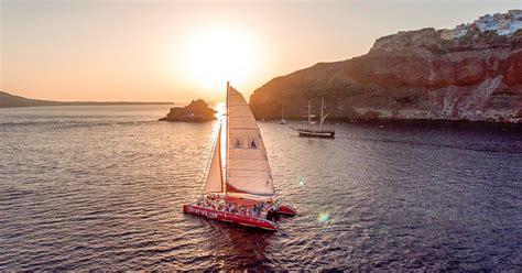 catamaran cruise with sunset santorini the santorini catamaran red cruise with meal drinks