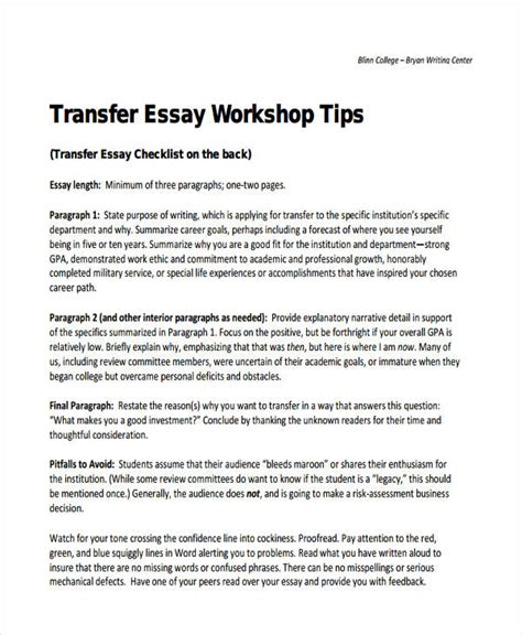 College Transfer Essay Exle by 29 Exles Of College Essays