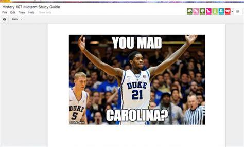 Duke Basketball Memes - duke fan replaces unc class midterm study guide with blue