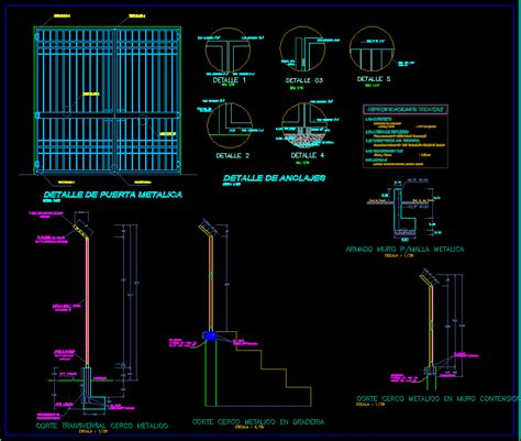 detail  metal gate  fence dwg plan  autocad