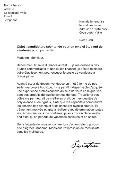 lettre de motivation 233 tudiant vendeuse mod 232 le de lettre