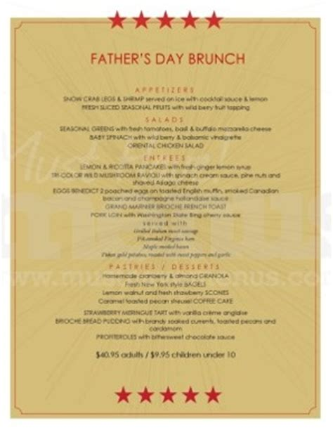 s day dinner menu ideas ideas for father s day dinner at your restaurant