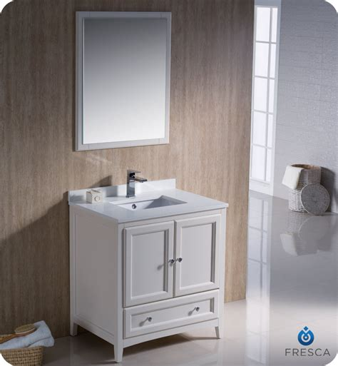 fresca oxford 30 quot traditional bathroom vanity white finish