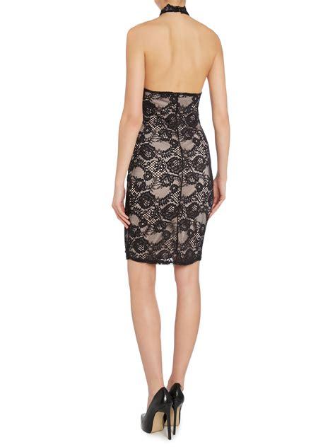 Halter Lace Dress W8255 Black lipsy lace halter bodycon dress in black lyst